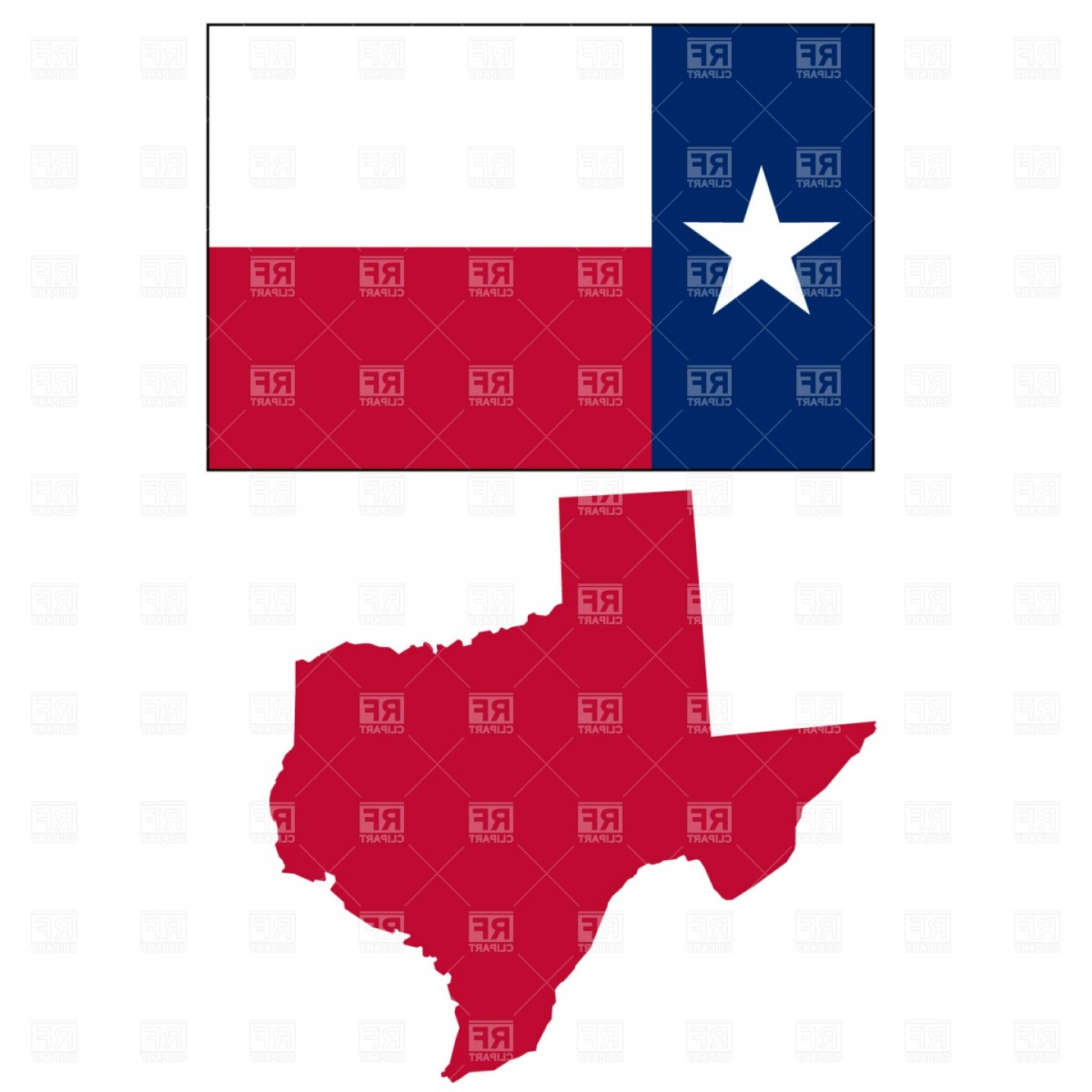 Texas Flag Vector Art: Texas State Map And Flag Vector Clipart