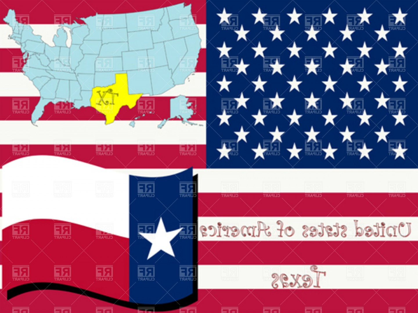 Texas Flag Vector Art: Texas State Outline And Flag Vector Clipart
