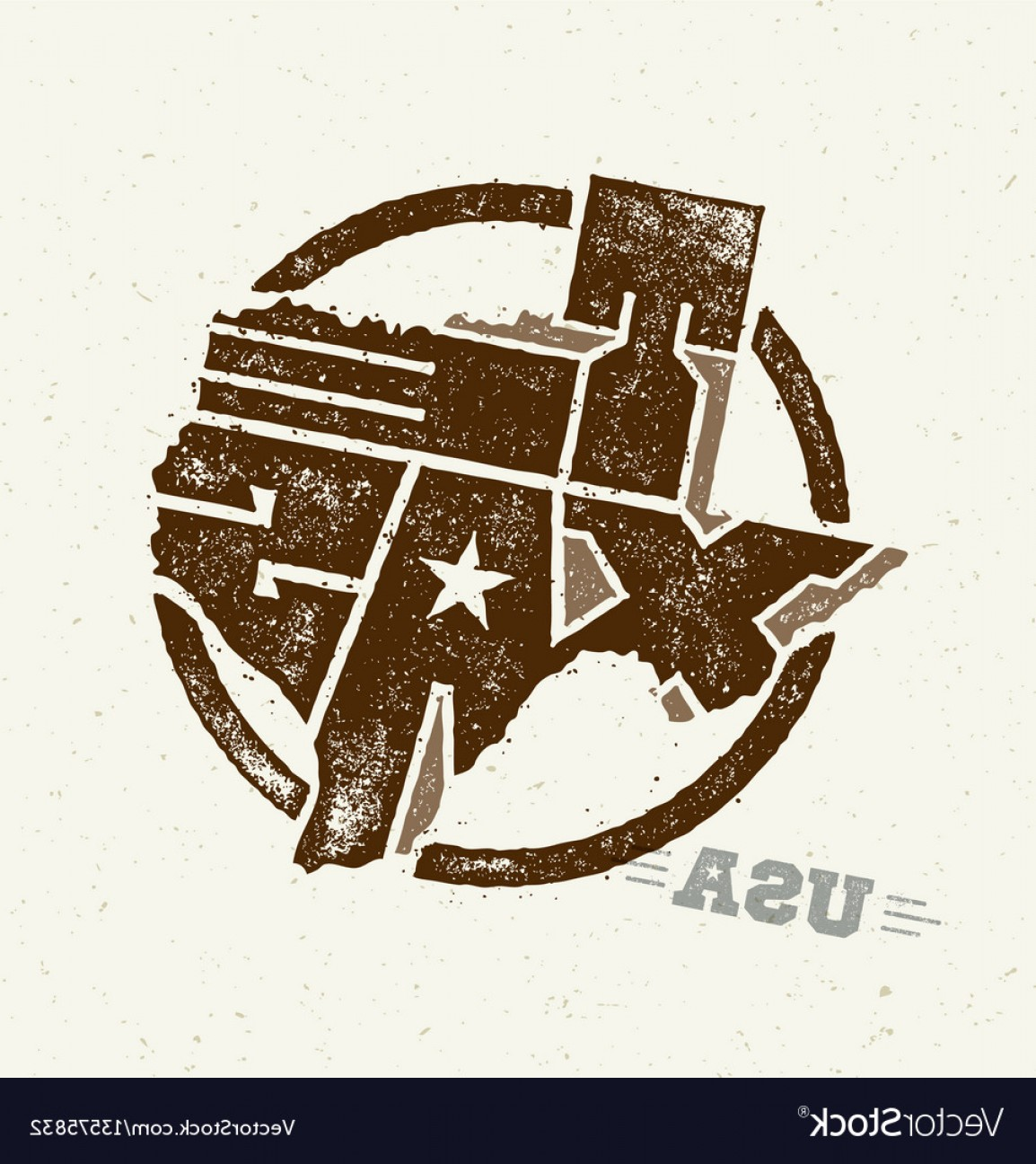 Texas Vector Drawing: Texas The Lone Star Usa State Creative Vector