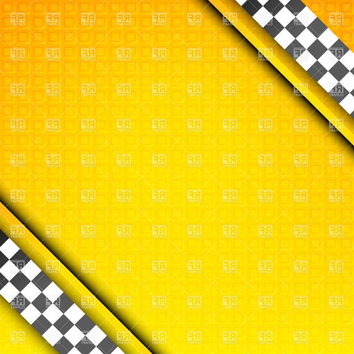Checker Vector Template: Textured Frame Template With Diagonal Checkered Tapes In Corners For Taxi Or Racing Poster Vector Clipart