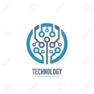 Graphics Technology Vector Logos: Photostock Vector Technology Vector Logo Concept Illustration For Corporate Identity Abstract Chip Logo Sign Network L