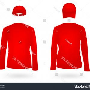 Long Sleeve Jersey Vector Template: Template Set Long Sleeve Blank Red