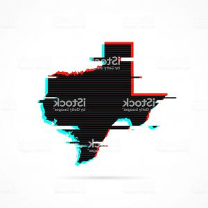 Houston TExES Vector Art: Texas Map In Distorted Glitch Style Modern Trendy Effect Gm