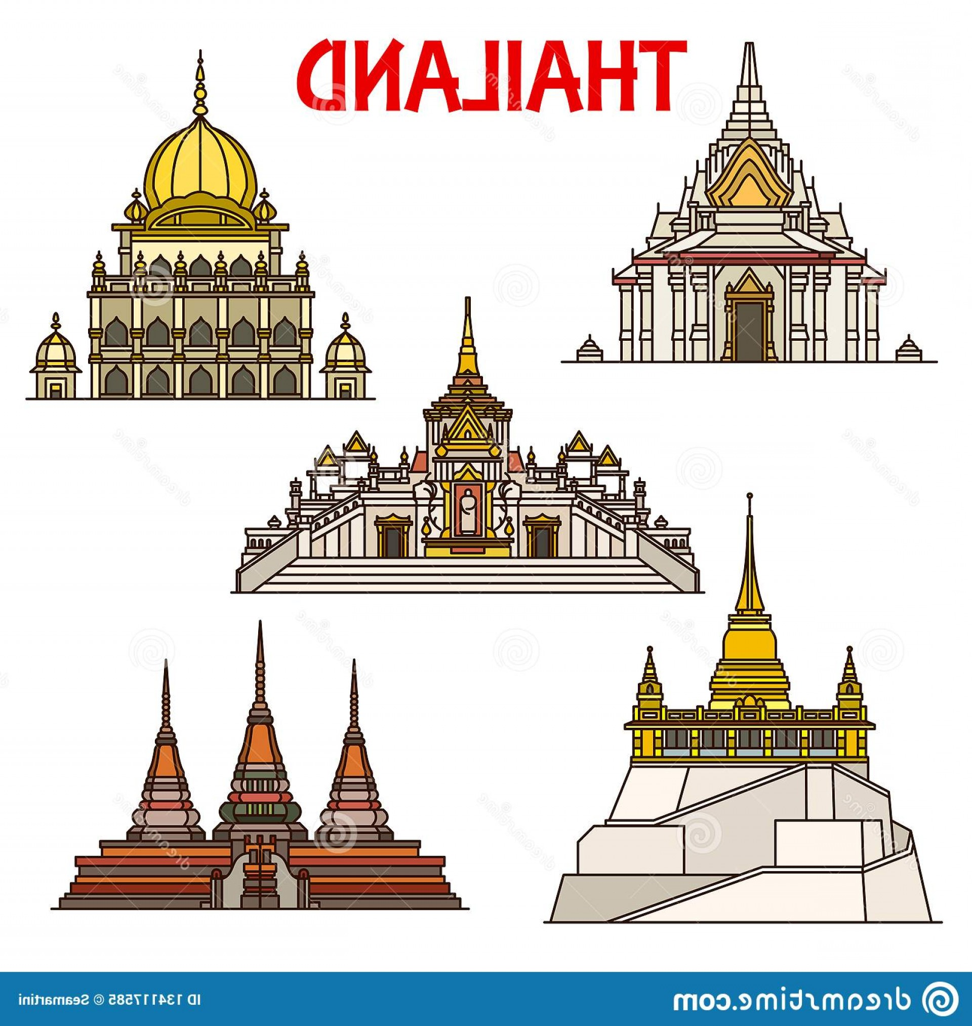 Vector Holy Shrine: Thai Travel Landmarks Bangkok Buildings Vector Icons Lak Mueang City Pillar Shrine Sikh Temple Buddhist Temples Wat Pho Image