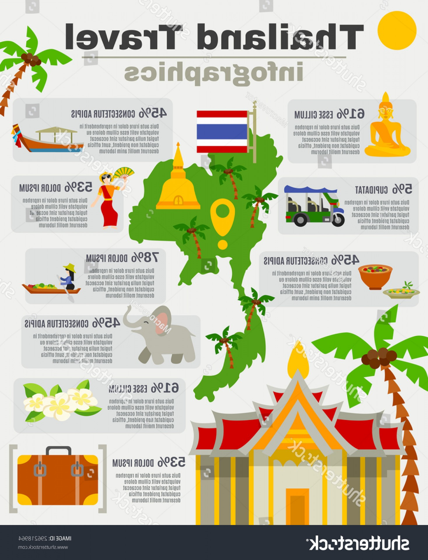 45 Pet Vector Map: Thailand Infographic Set Map Palms Sights