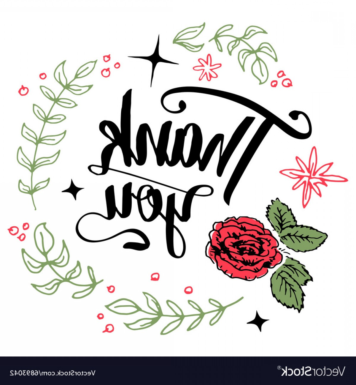 Floral Vector Calligraphy: Thank You Floral Wreath Calligraphy Vector