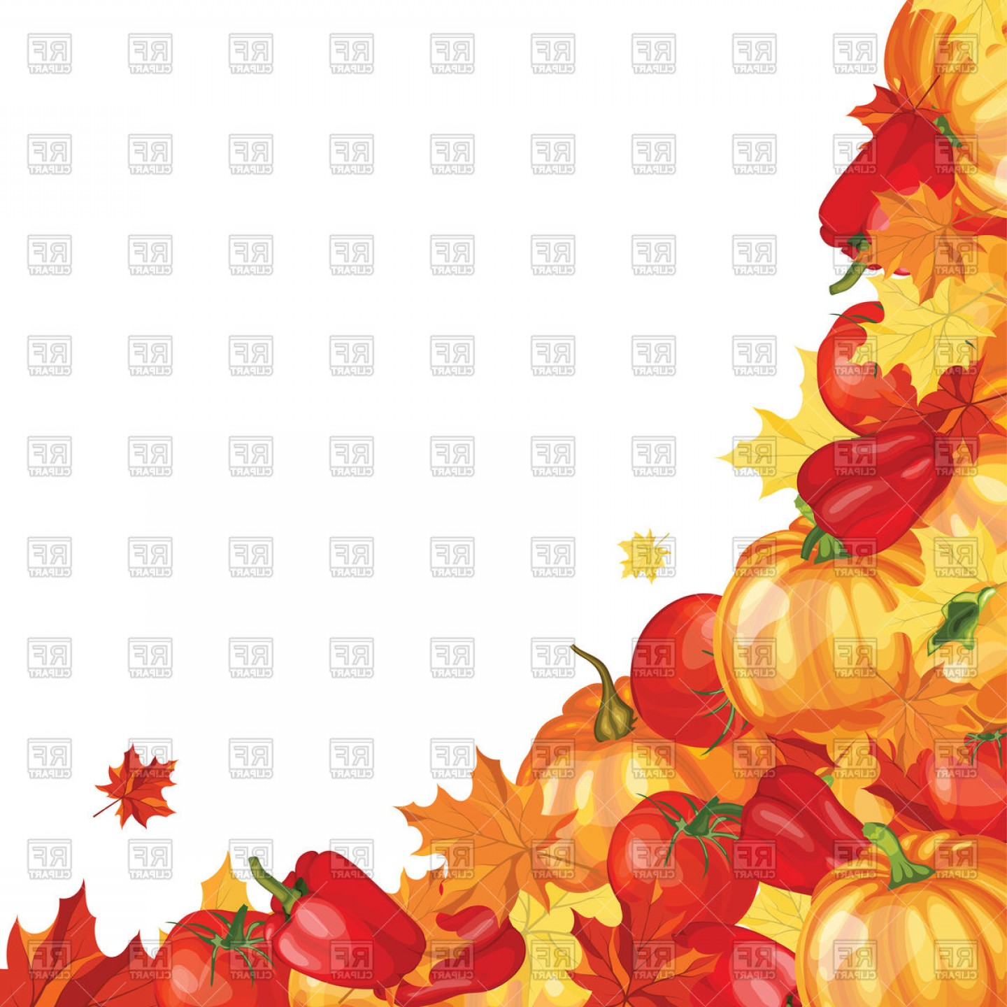Thanksgiving Border Vector: Thanksgiving Day Greeting Card With Text Space Vector Clipart