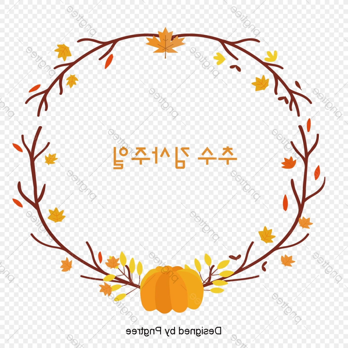 Thanksgiving Border Vector: Thanksgiving Lace Pumpkin Maple Leaf Border