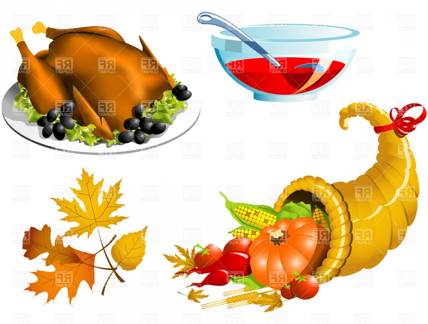 Turkey Logo Vector Art: Thanksgiving Roasted Turkey And Cornucopia Vector Clipart