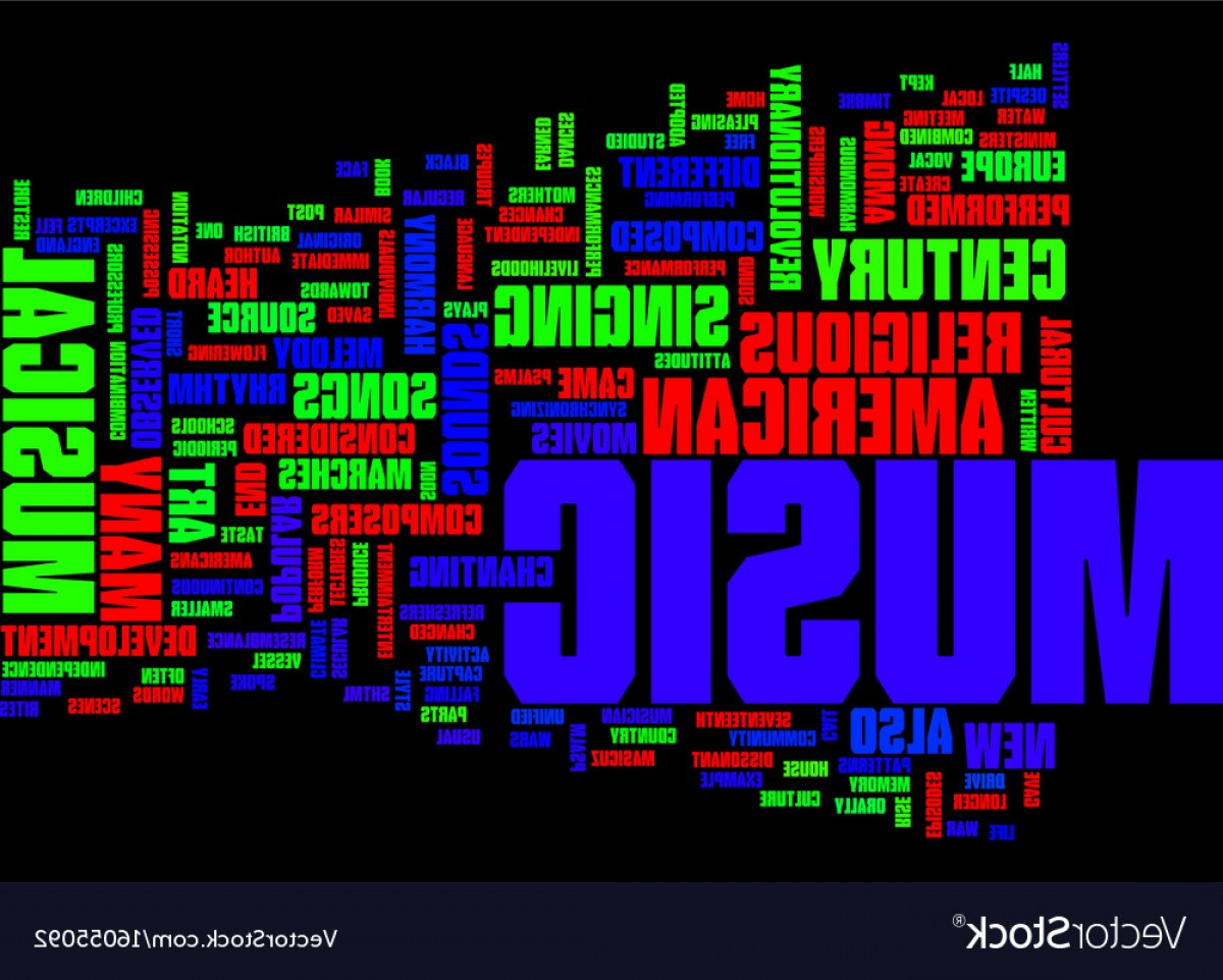 Gospel Music Background Vector: The Art Of Music Text Background Word Cloud Vector