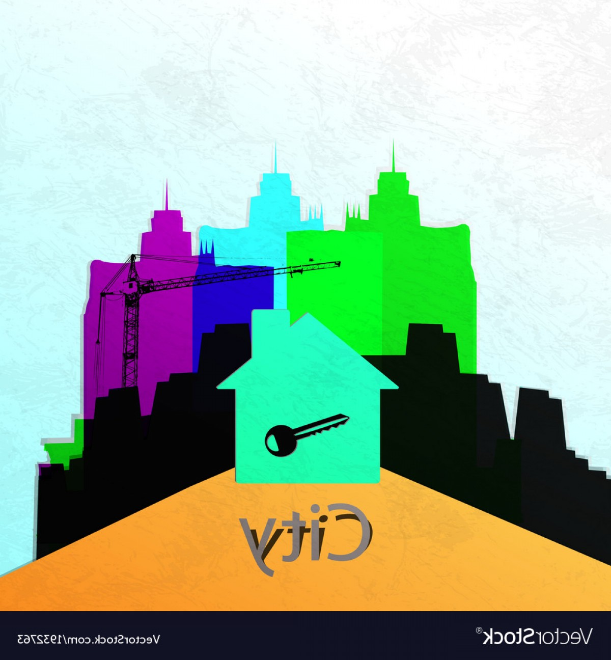Wall Art Vector Graphics For The Home: The City Wall Construction Of A New Home Abstract Vector