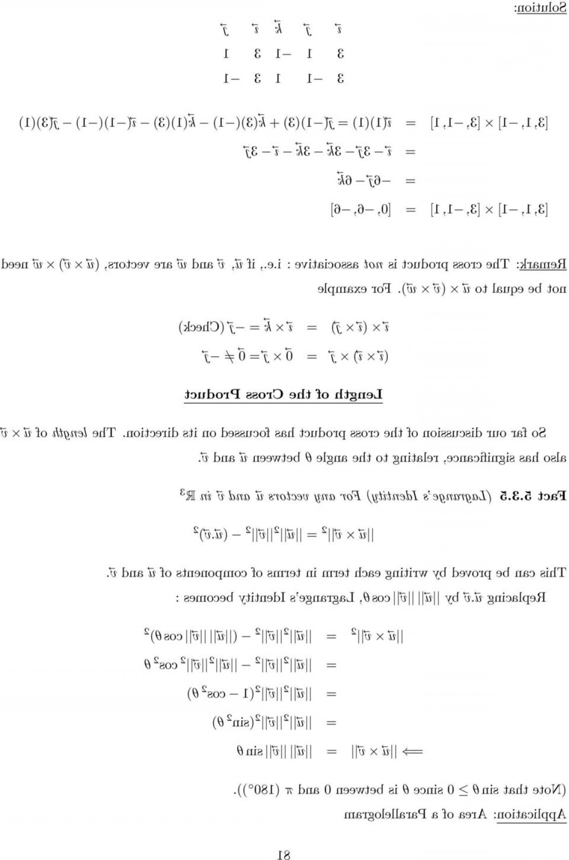 Cross Product Of Vectors 3: The Cross Product In R