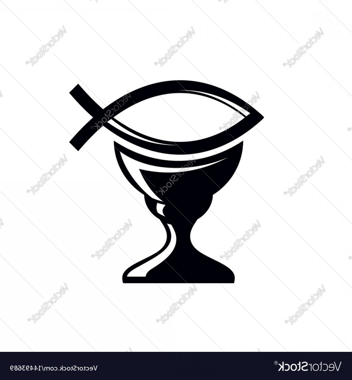 Christ Fish Vector: The Cup Of Christ And The Symbol Of Fish Vector