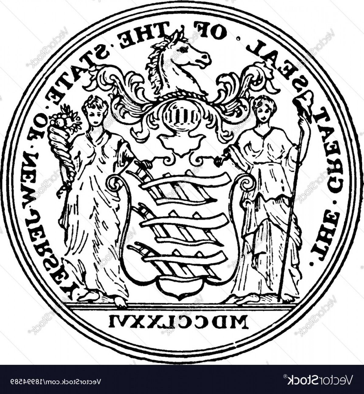 California Seal Vector EPS: The Great Seal Of The State Of New Jersey Vintage Vector