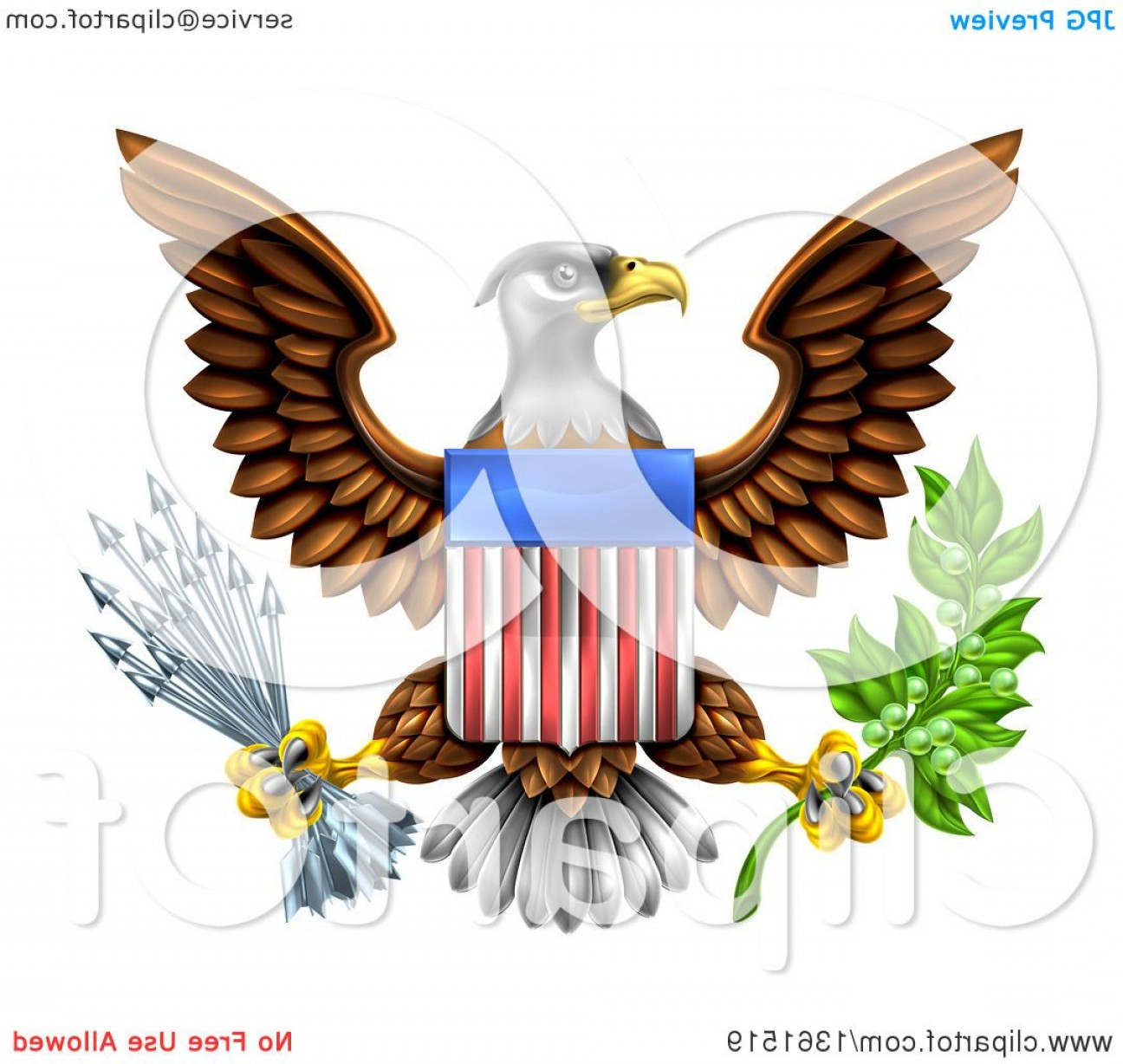 Patriotic Bald Eagle Vector: The Great Seal Of The United States Bald Eagle With An American Flag Shield Holding An Olive Branch And Silver Arrows