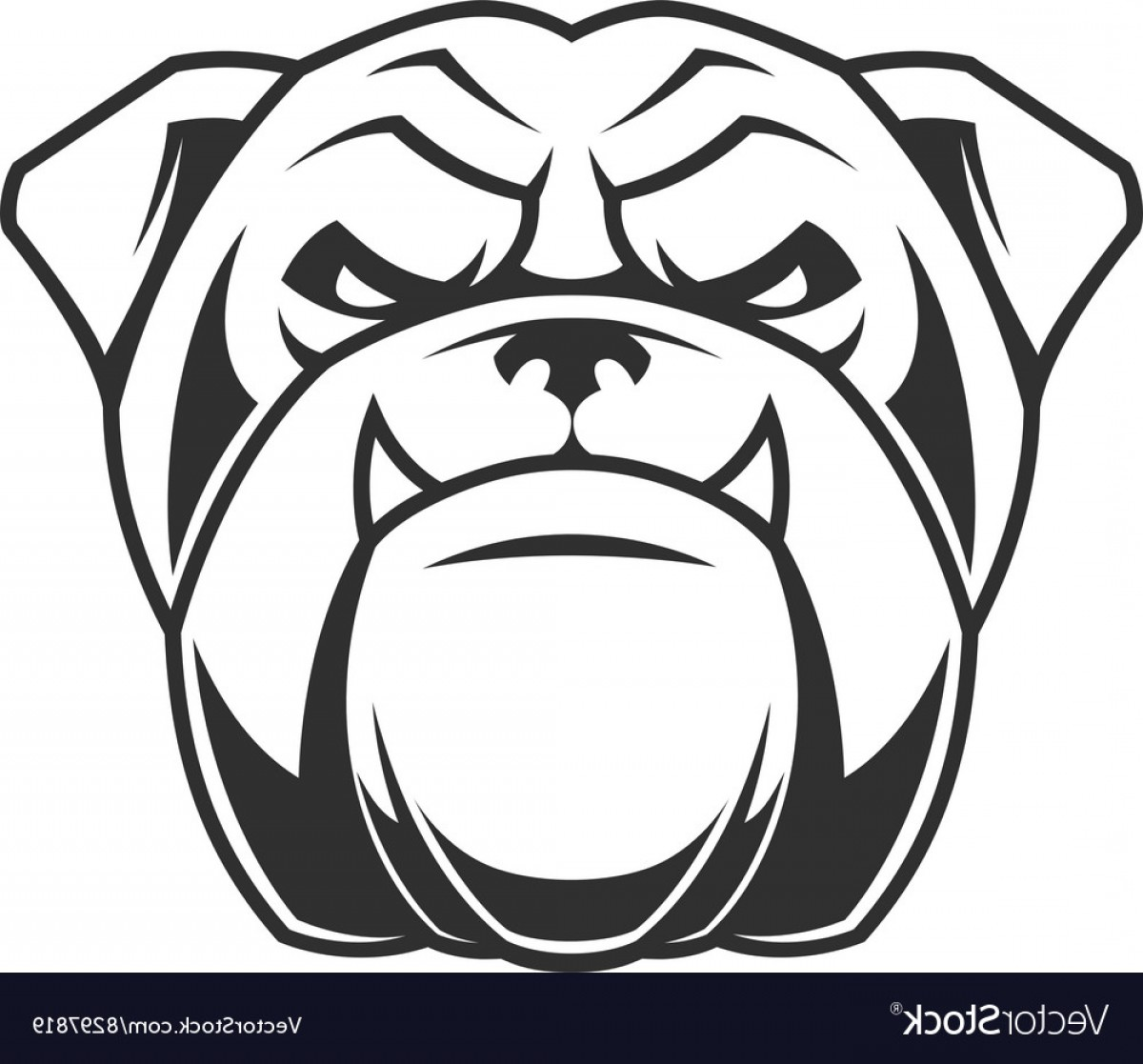 Bulldog Vector Art: The Head Of A Fierce Bulldog Vector