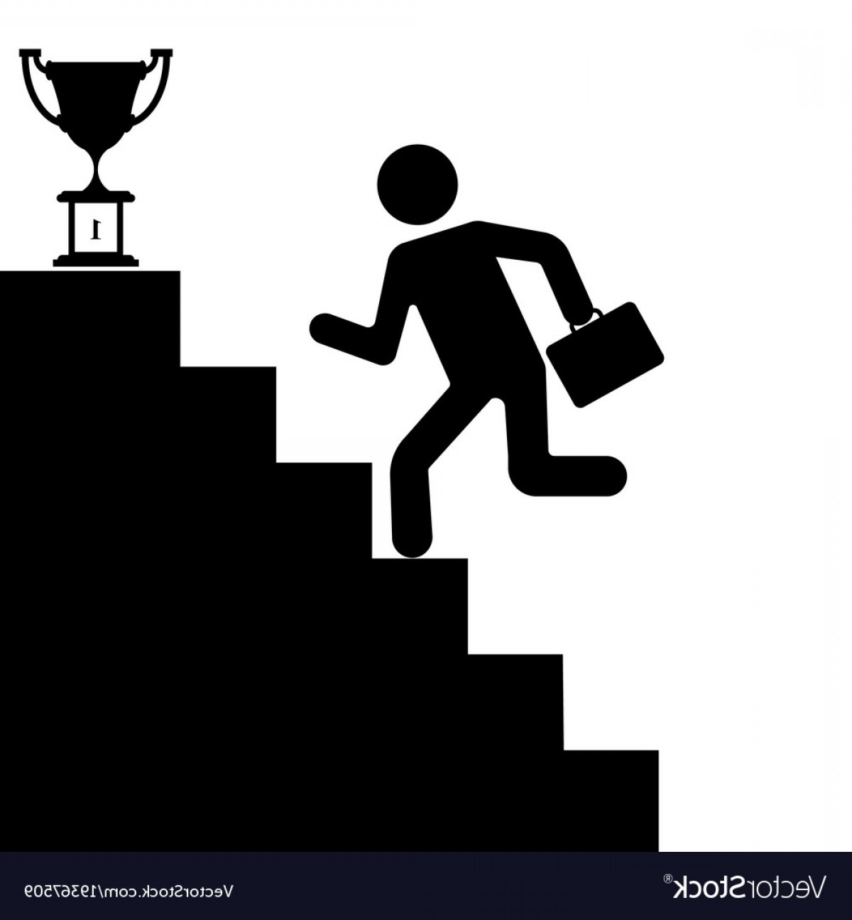 Stair Climb Vector: The Human Figure Climbing The Stairs To Success Vector