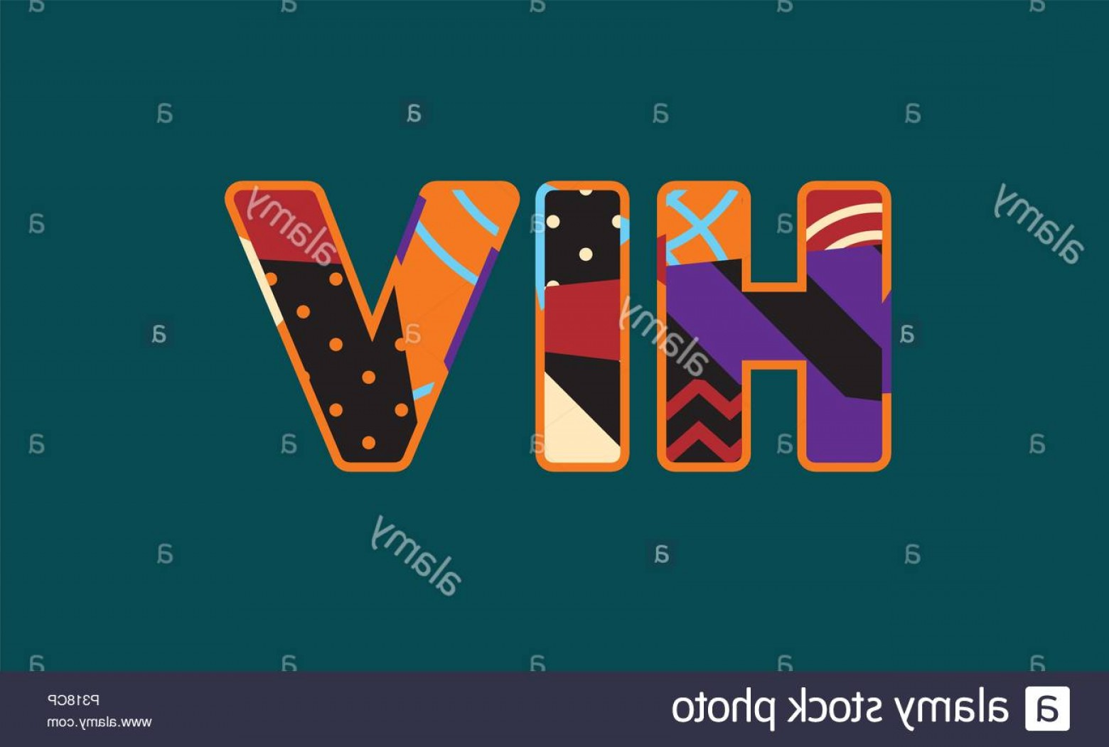 EPS Vector Letters: The Letters Hiv Concept Written In Colorful Abstract Typography Vector Eps Available Image