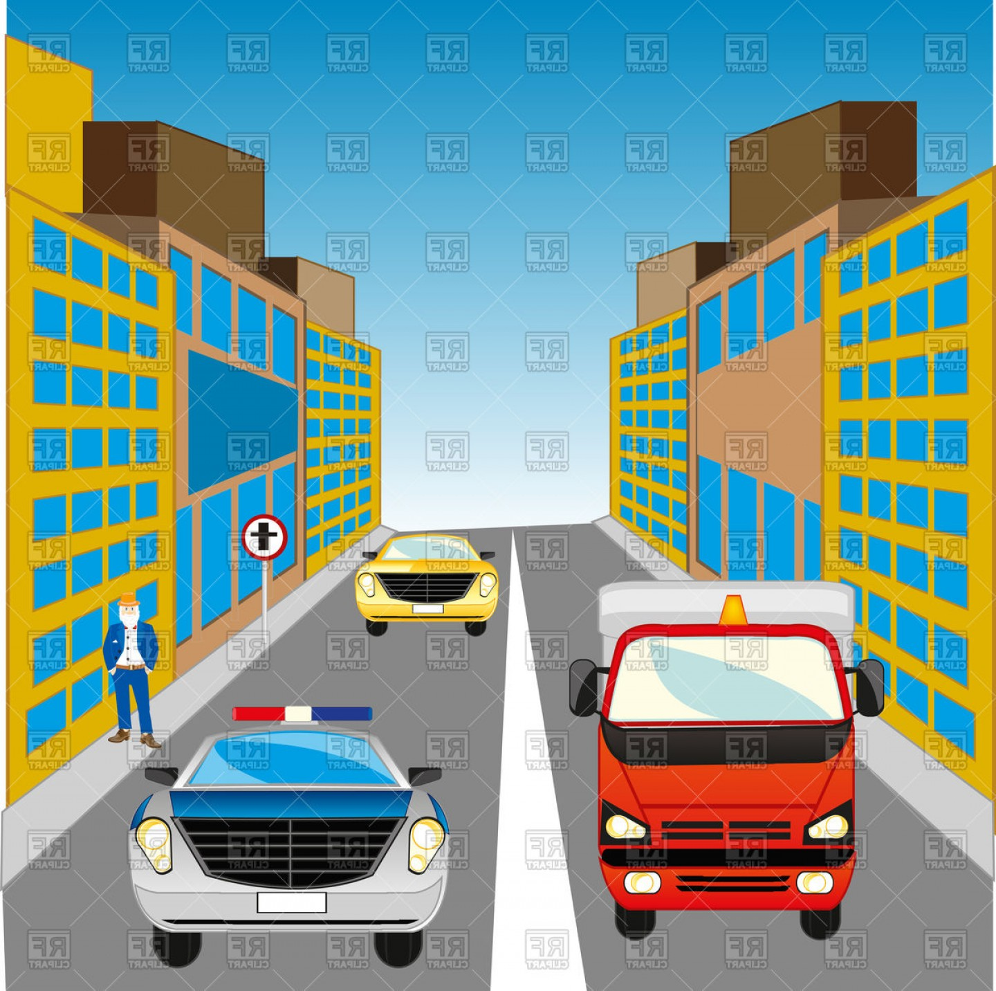 Vector Images Of Cars On Streets: The Street In Big City And Cars Vector Clipart