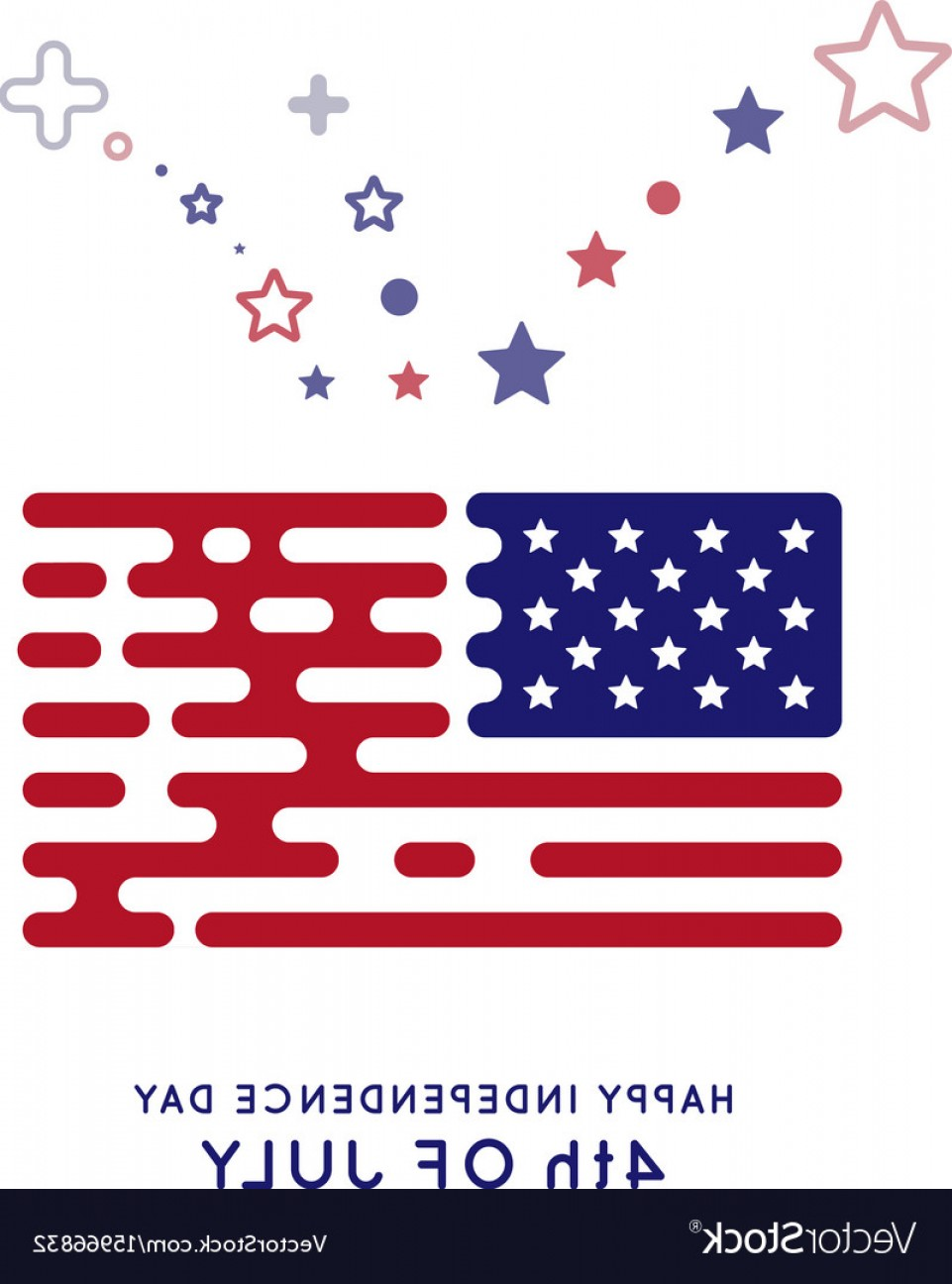 US Flag Vector Lines: The Us Flag In The Style Of Rounded Lines Hipster Vector