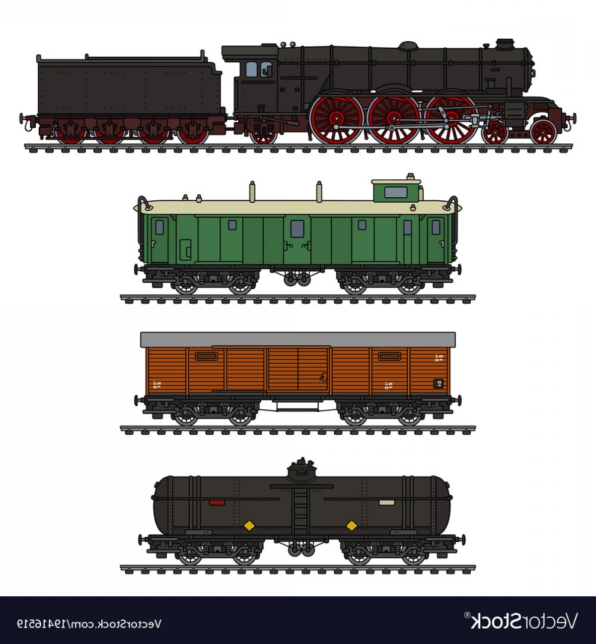 Vintage Steam Train Vector: The Vintage Freight Steam Train Vector