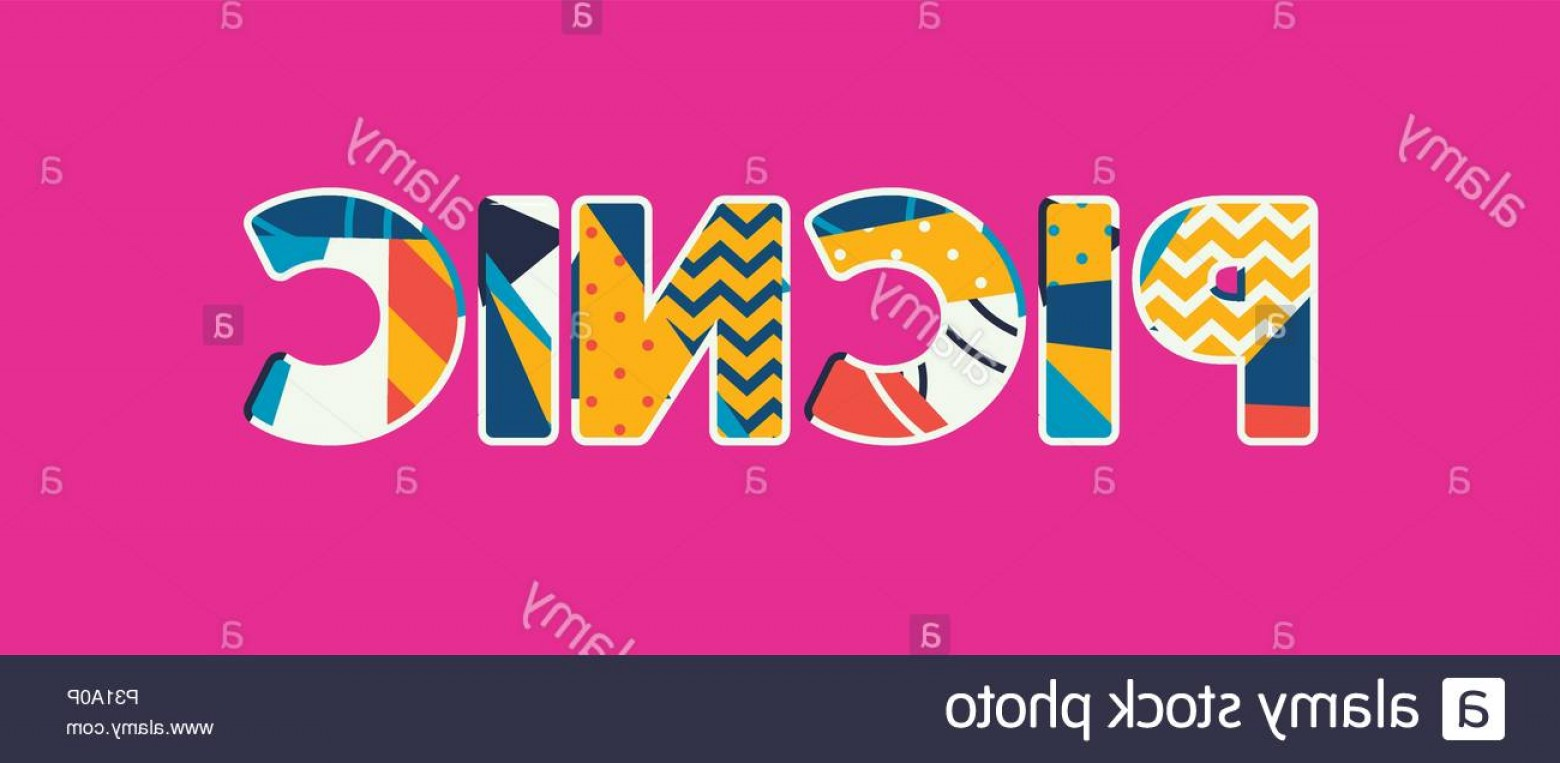 Vector Word Picnic: The Word Picnic Concept Written In Colorful Abstract Typography Vector Eps Available Image