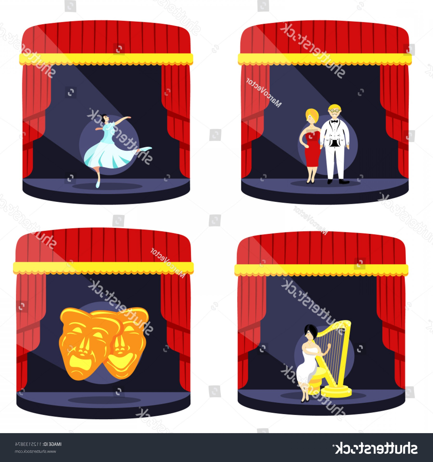 Belgium Theatre Vector Icons: Theater Nighttheater Comedy Masks Tragedies On