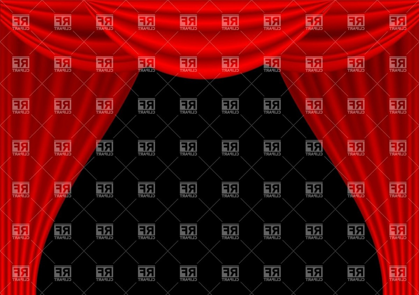 Stage Curtain Vector: Theater Stage Curtains Vector Clipart