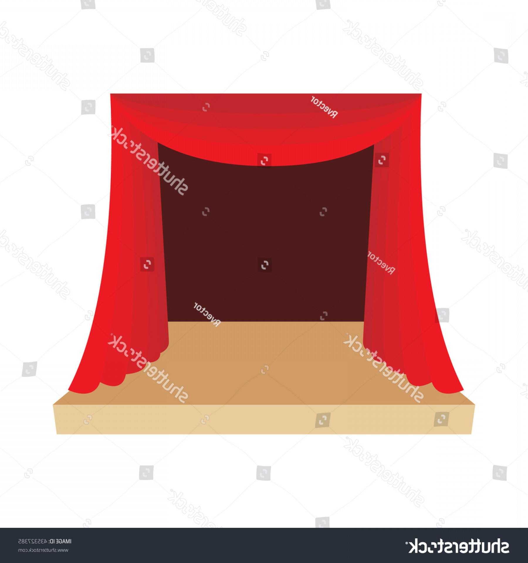 Belgium Theatre Vector Icons: Theater Stage Red Curtain Icon Cartoon