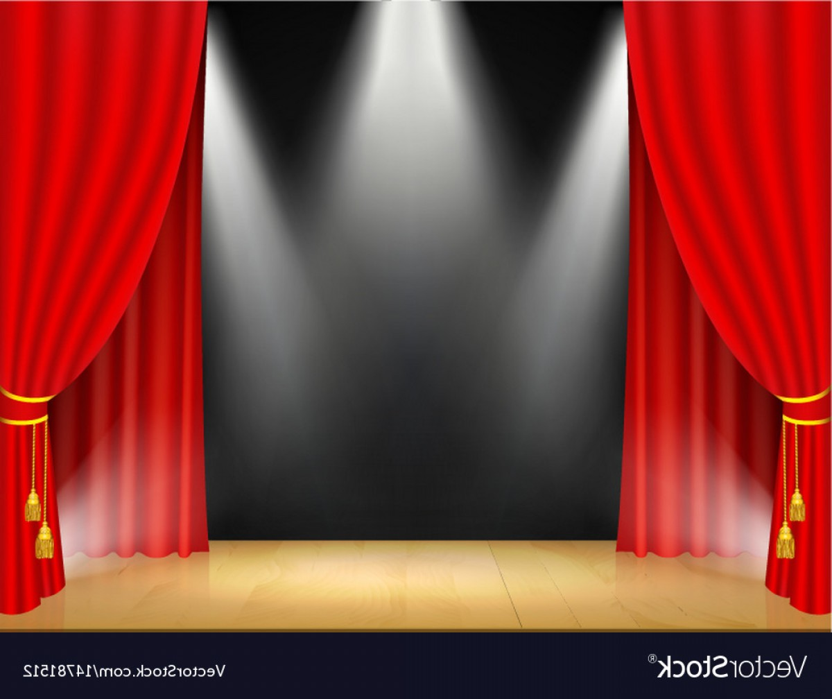 Stage Curtain Vector: Theater Stage With Spotlights And Red Curtain Vector