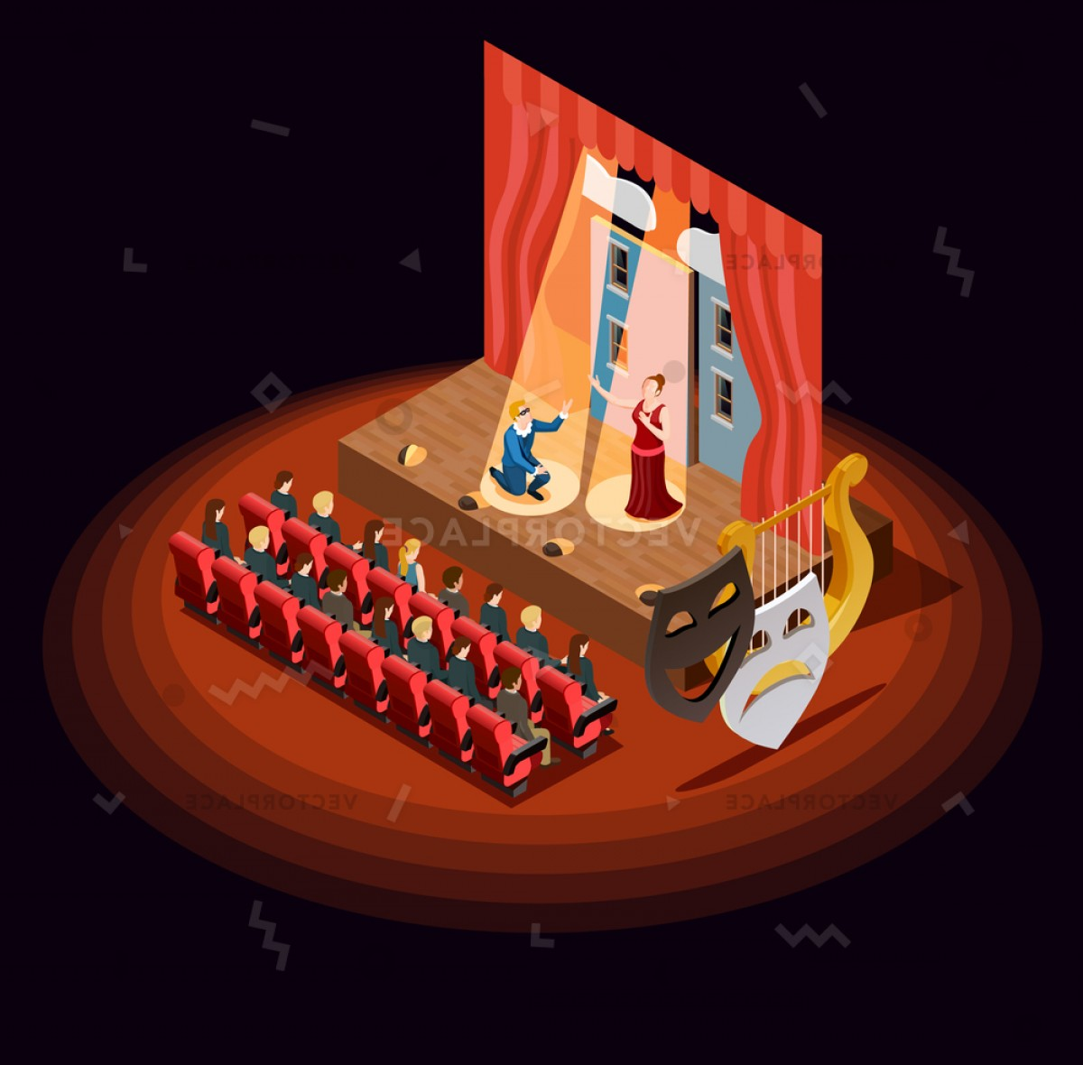 Vector Stage Audience: Theatre Composition Isometric Audience Hall Stage Vector Illustration