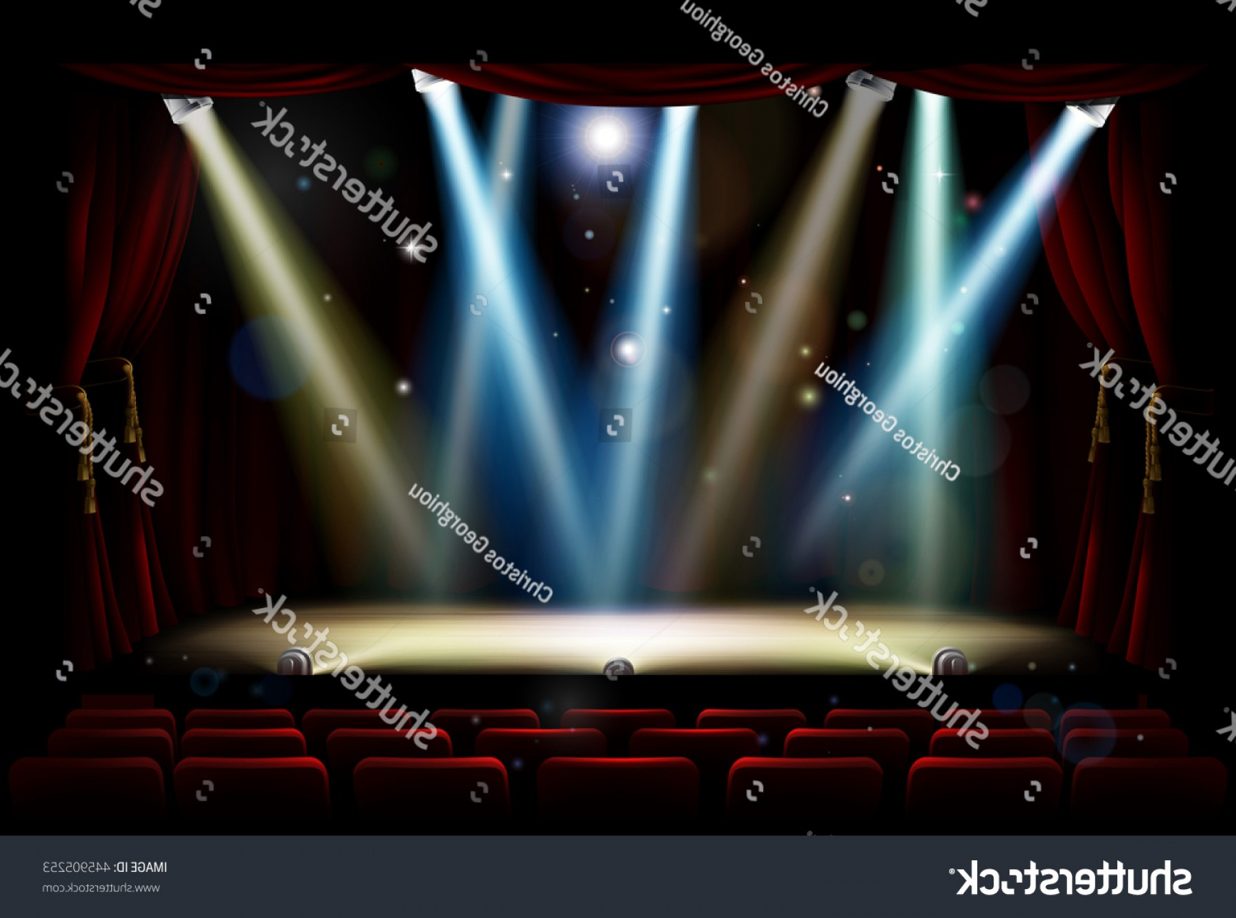 Vector Stage Audience: Theatre Theater Stage Audience Seating Footlights