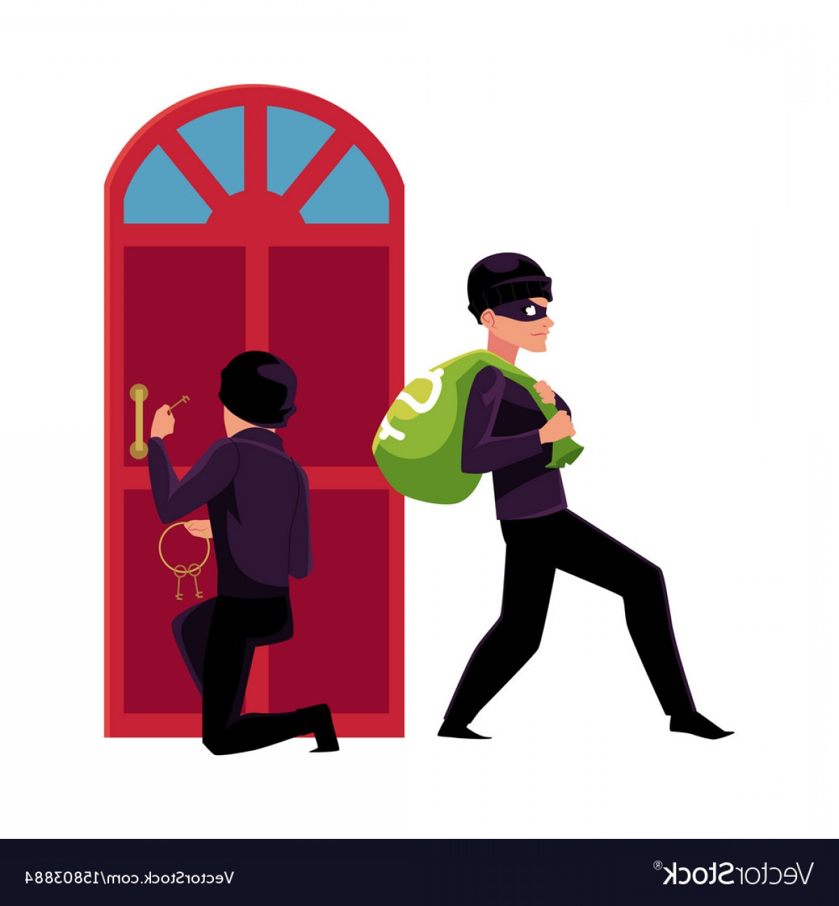 Walking Away Vector: Thief Burglar Breaking In House And Walking Away Vector