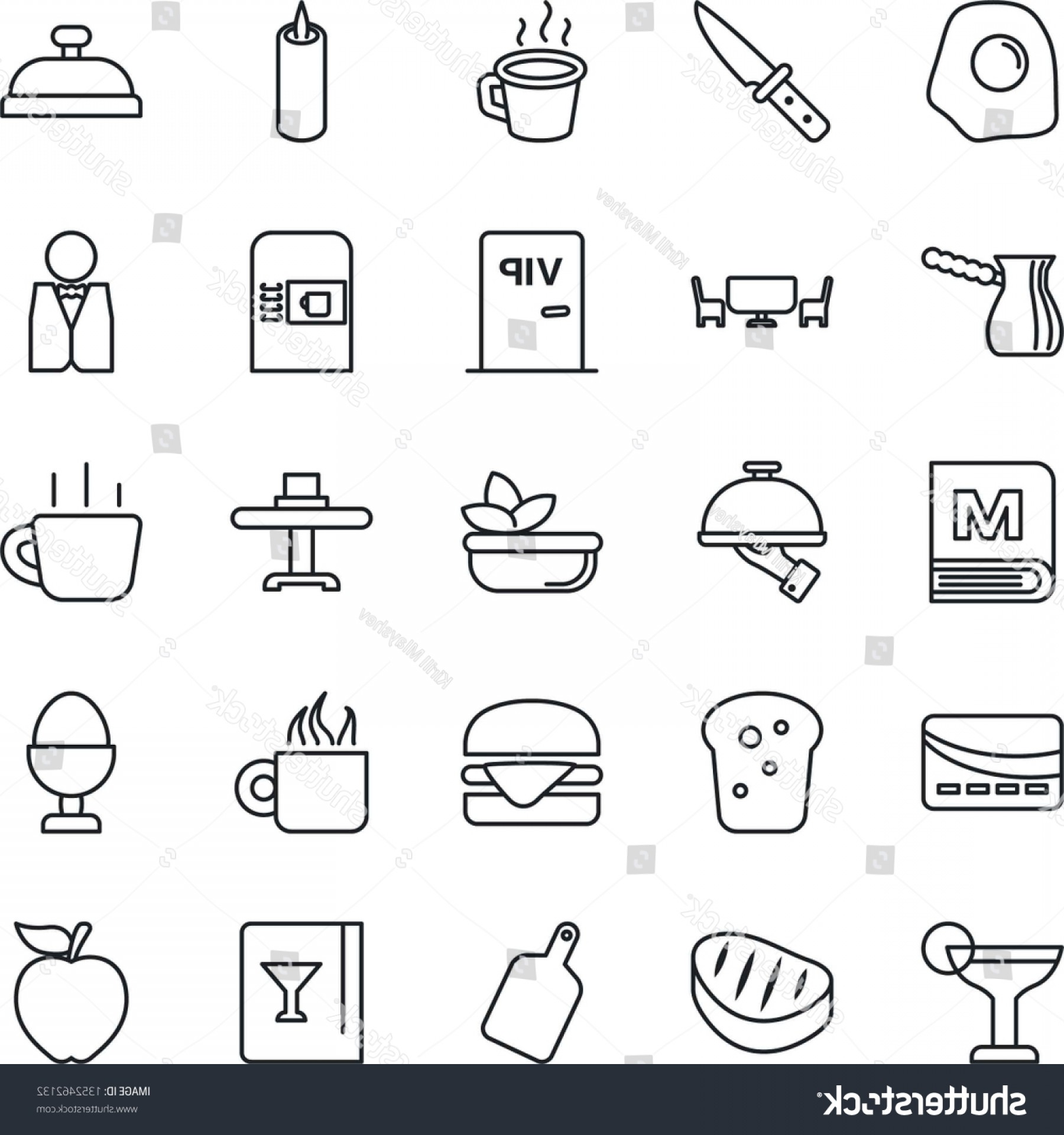 Vector Waiter Coffee: Thin Line Icon Set Coffee Machine
