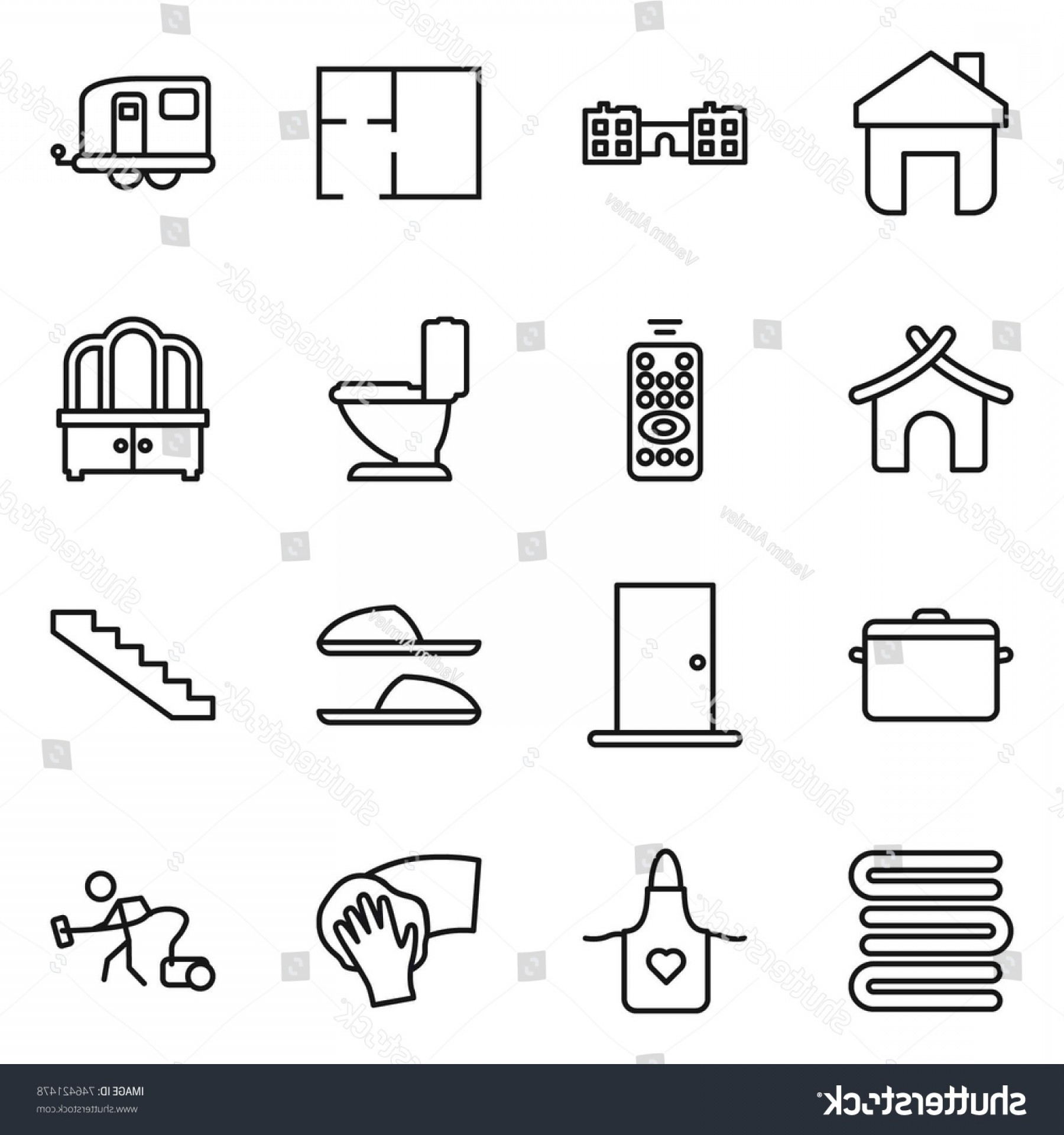 Vector Vacuum Trailer: Thin Line Icon Set Home School
