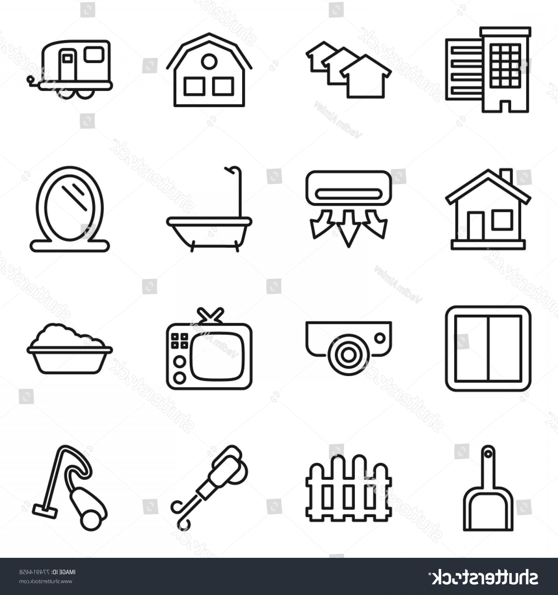 Vector Vacuum Trailer: Thin Line Icon Set Houses House