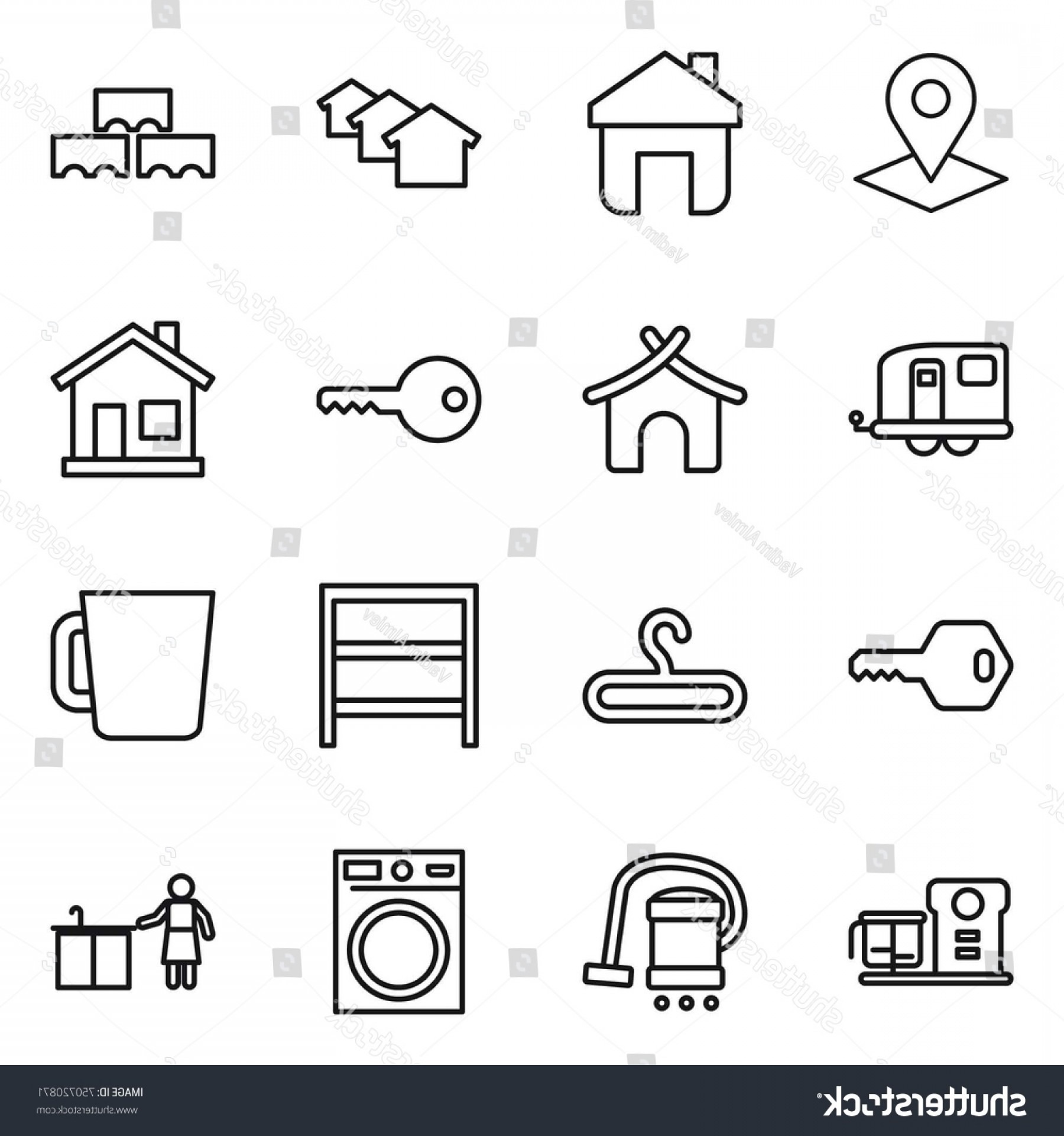 Vector Vacuum Trailer: Thin Line Icon Set Pointer Home