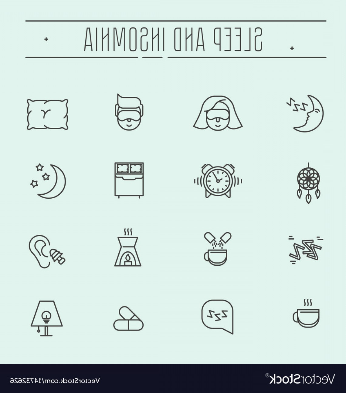 Vector Navigation Problems: Thin Line Icons Sleep Problems And Insomnia Vector