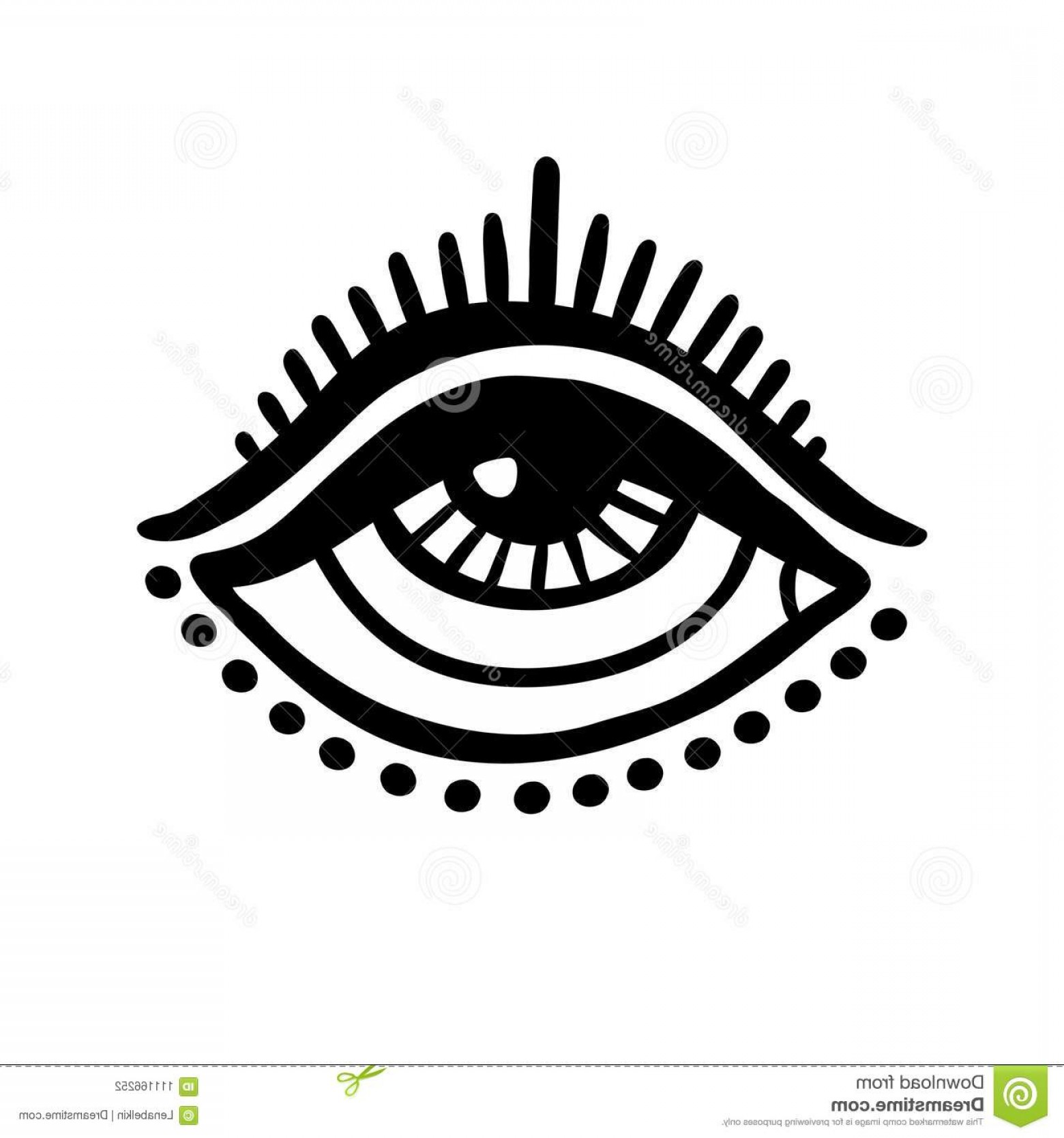 Eye Tatoo Vector: Third Eye Icon Hand Drawn Doodle Style Tattoo Design Element Vector Illustration Image