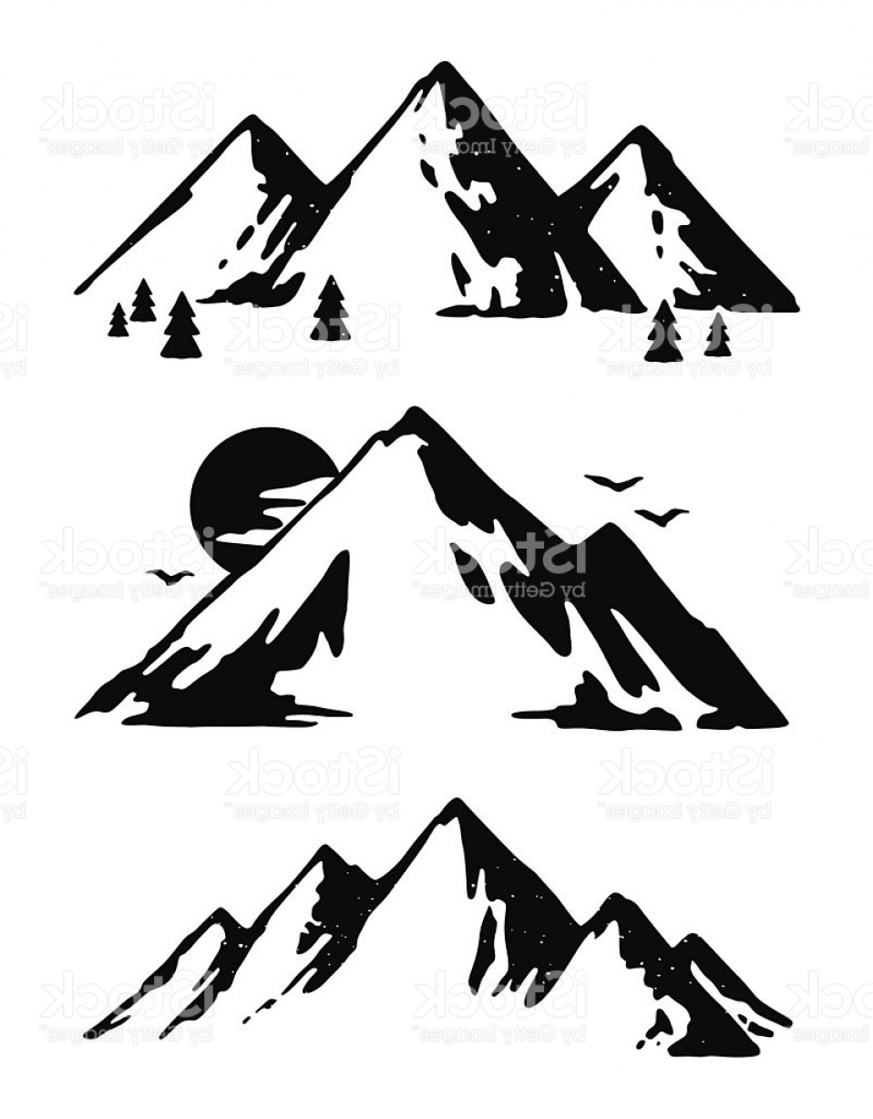 White Mountain Silhouette Vector Free: Three Black And White Mountain Images Gm