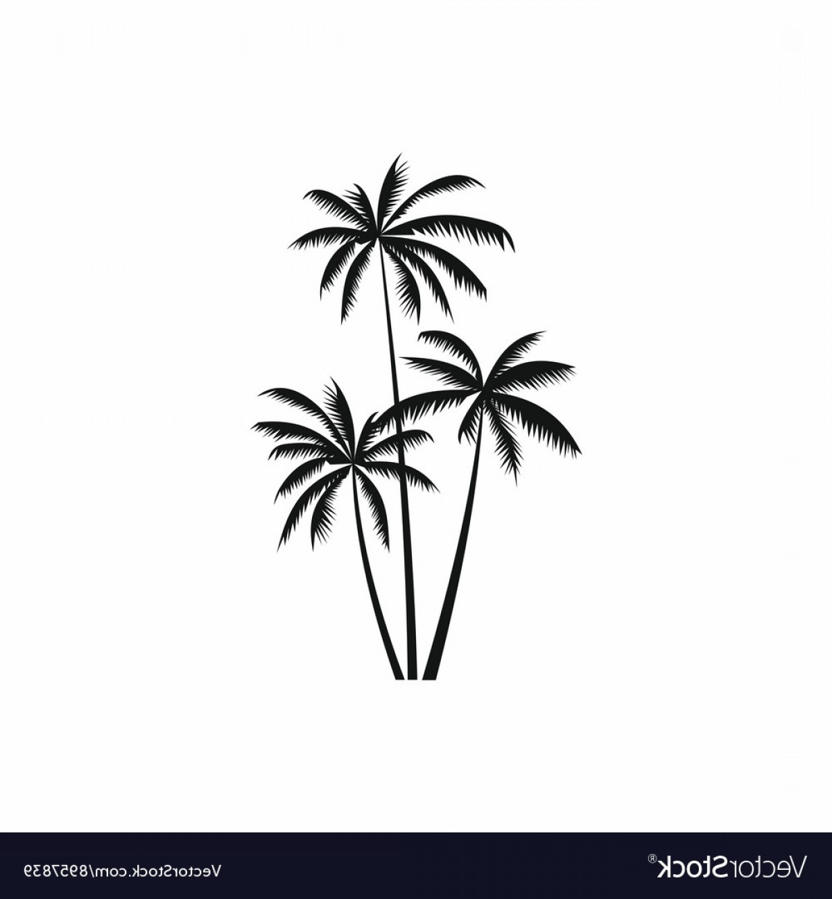 Simple Palm Tree Vector: Three Coconut Palm Trees Icon Simple Style Vector