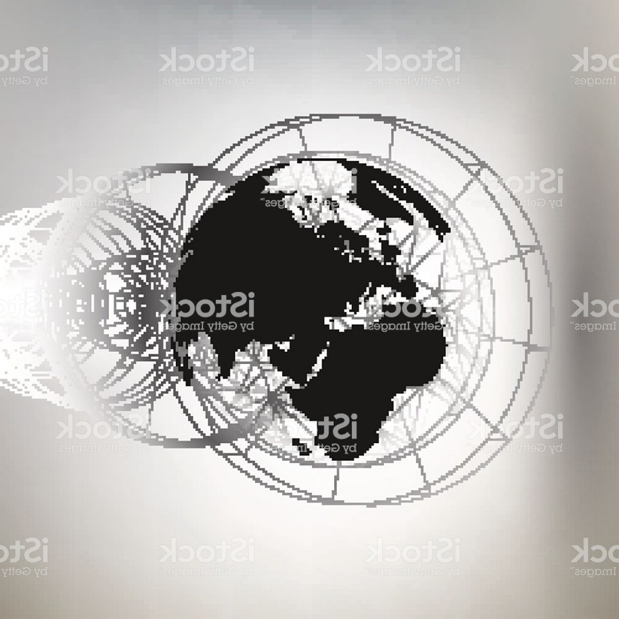 Abstract Vector Art Globe TV: Three Dimensional Dotted World Globe With Abstract Construction And Molecules Gm