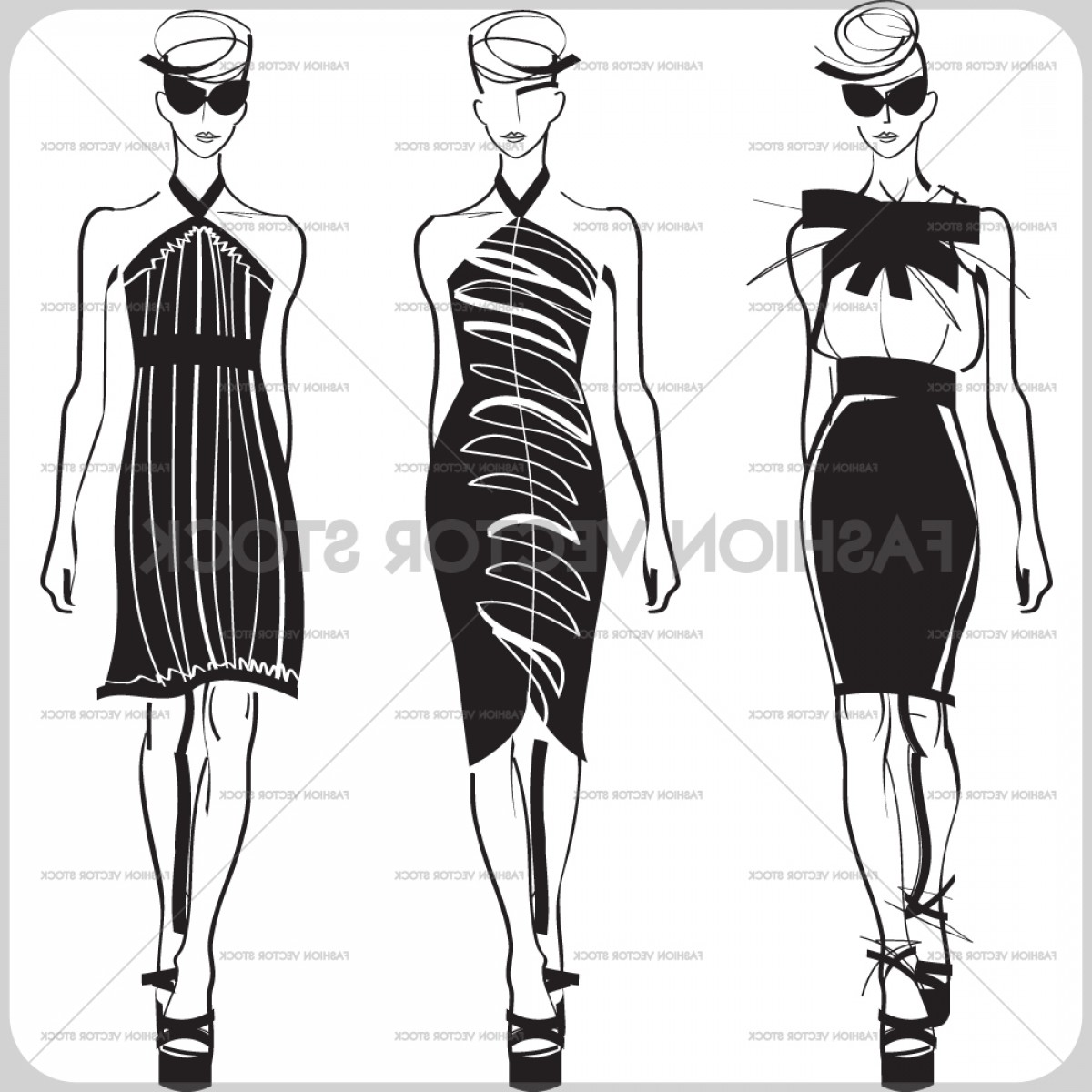 Vector Images Of Black And White Dresses: Three Fashion Models In Black Dresses