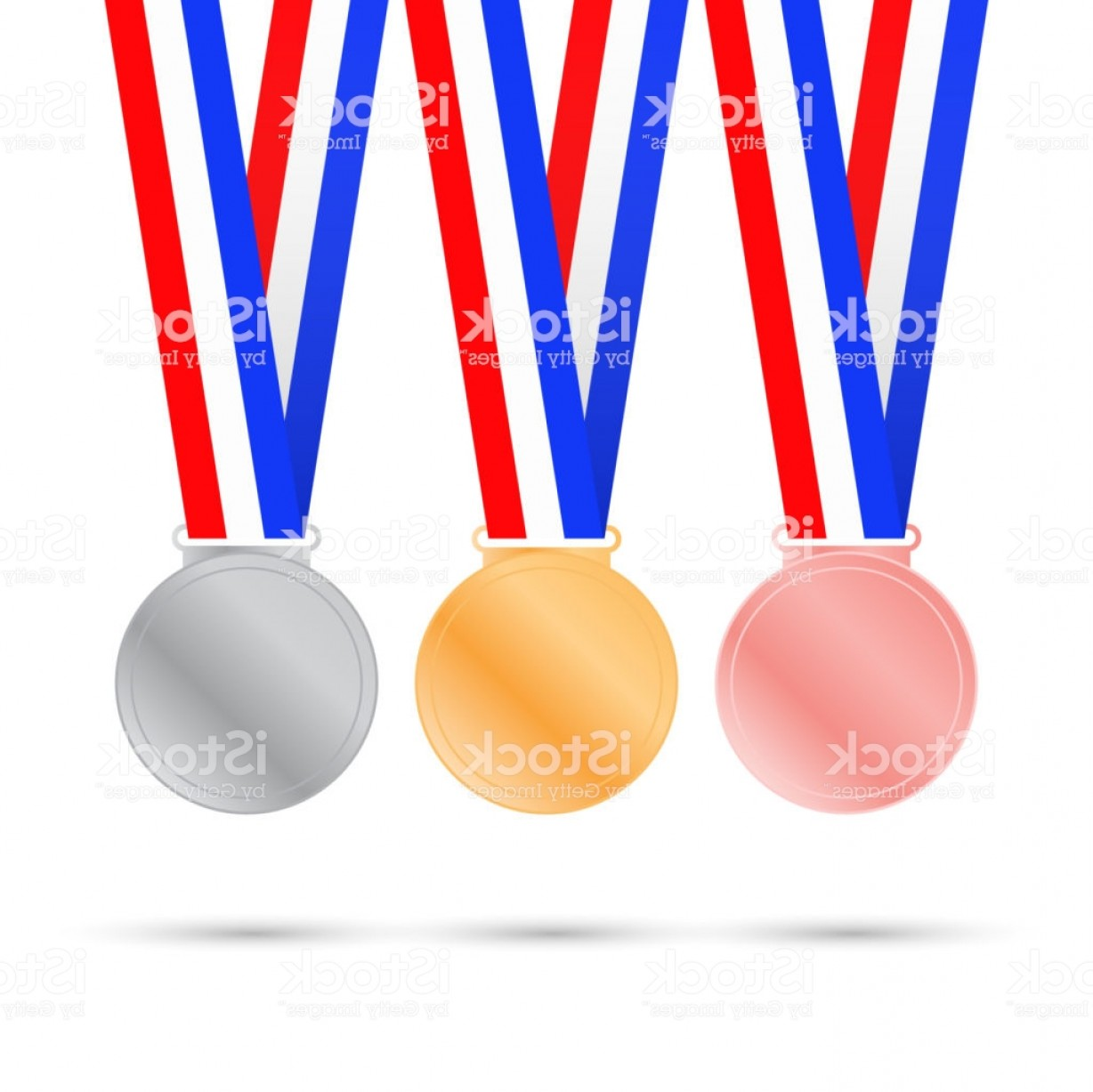 Sport Vector Art Games: Three Medals On White Background For Sport Games Vector Illustration Gm