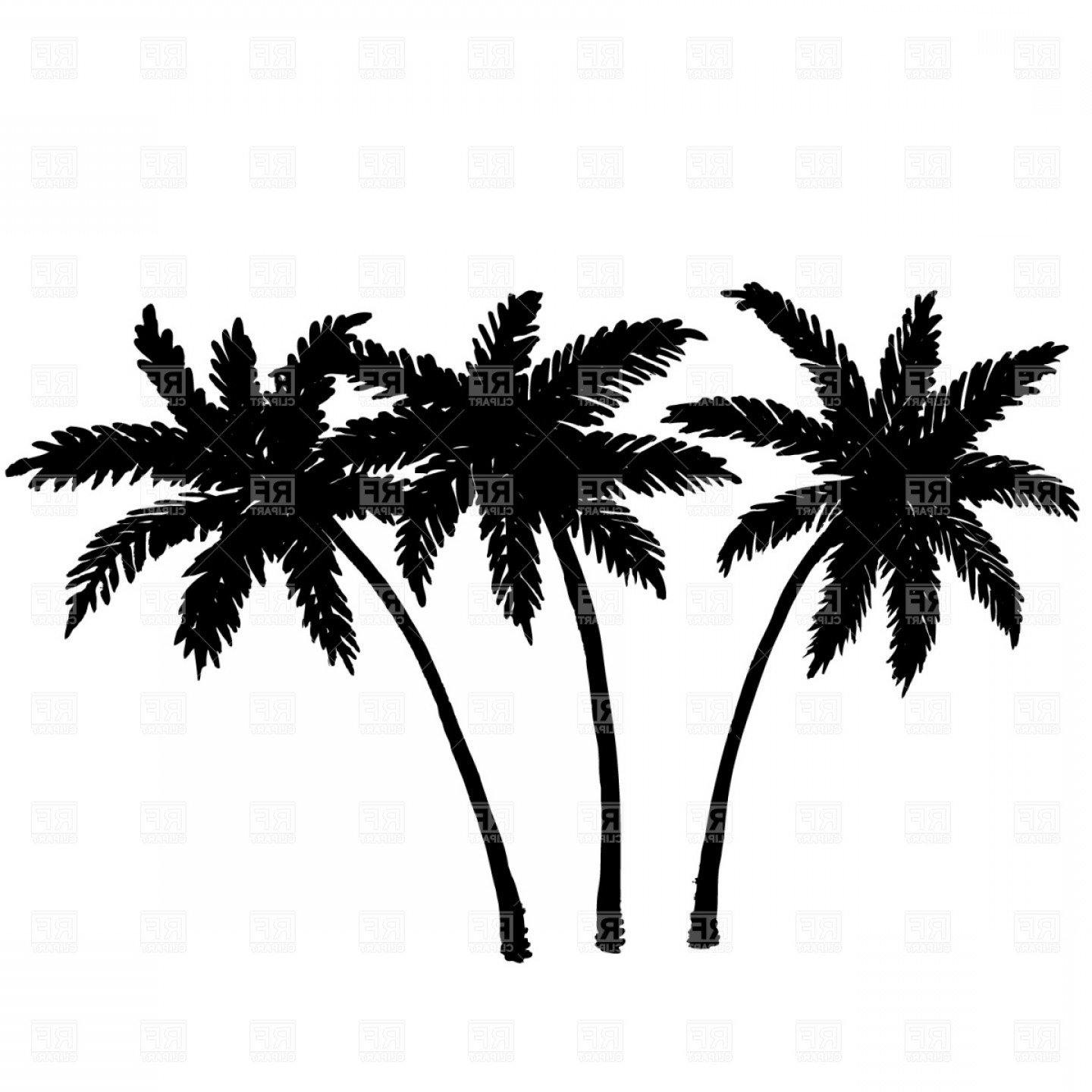 Tree Silhouette Vector Clip Art: Three Palm Trees Silhouette Vector Clipart