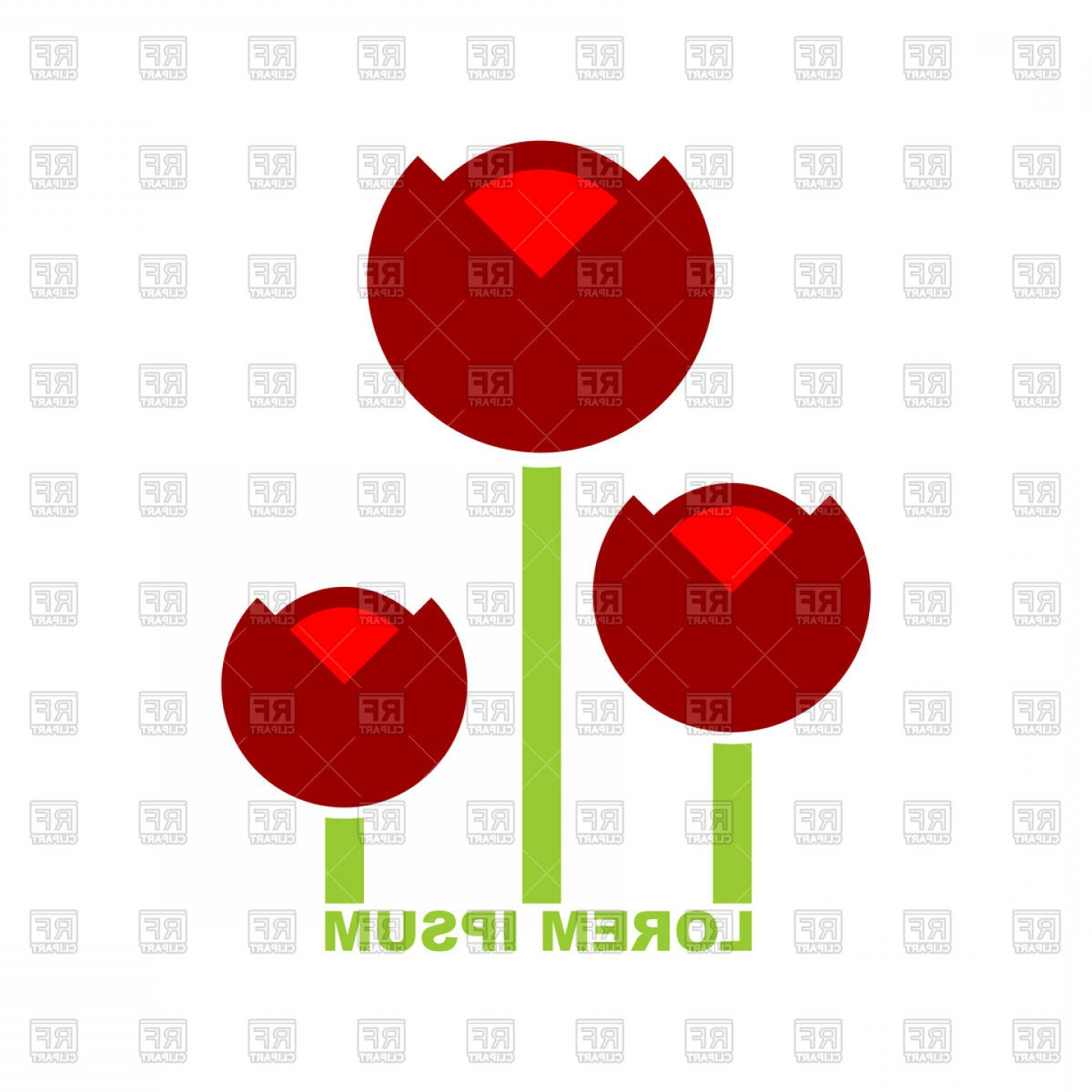 Tulip Icon Vector: Three Red Tulip Icon Vector Clipart