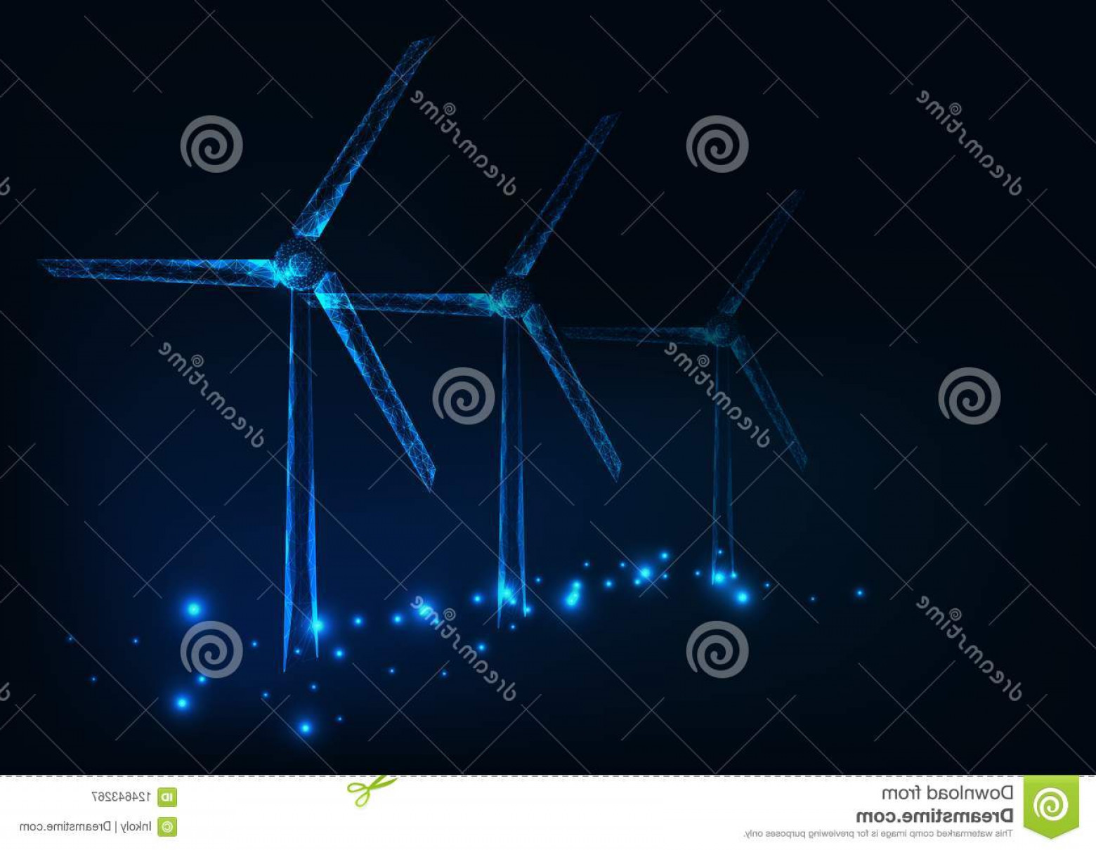 Wind Vector Field: Three Wind Mills Made Glowing Triangles Lines Dots Wind Turbines Field Renewable Alternative Sources Electric Energy Low Image