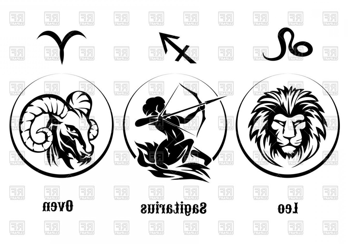 Leo Symbol Zodiac Vector: Three Zodiac Signs Of Fire Leo Sagittarius Aries Vector Clipart