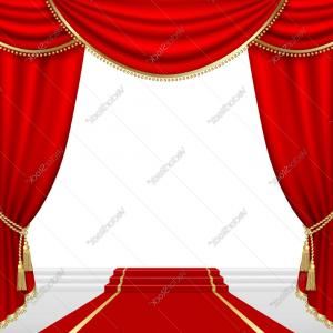 Stage Curtain Vector: Theater Stage With Red Curtain Vector