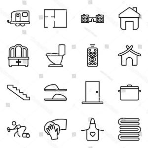 Vector Vacuum Trailer: Flat Vector Icon Set Lighthouse Mansion